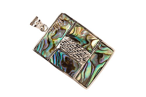 (Abalone Mosaic Rectabgle Shell Pendant With Silver-Plated Copper Bail 30x41x3mm)