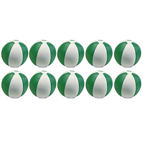 eBuyGB Pack of 10 Inflatable Colour Ball - Beach Pool Game, Green, 22 -