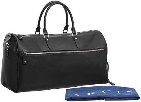 Genuine Leather Travel Bag with Shoe Compartment - Weekender/overnight bag, carry on, duffel bag (Black)