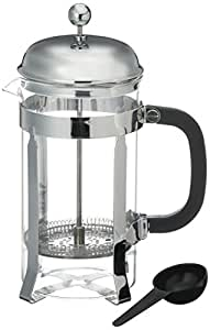 Bruntmor French Press Coffee and Tea Maker with 3 Bonus Filter Screens, 34 oz, Stainless Steel