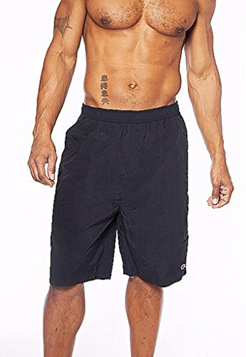 Champion Men's Big and Tall Nylon Swim Trunk (Black, 4XL)