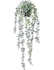 COCOBOO 1pcs Artificial Hanging Potted Plants Fake Eucalyptus Hanging Plant for Wall Room Home Patio Indoor Outdoor Decoration