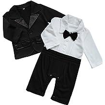 FEESHOW Baby Boy's 2Pcs Gentleman Wedding Formal Tuxedo Suit Romer Outfit Set Size 0-3 Months