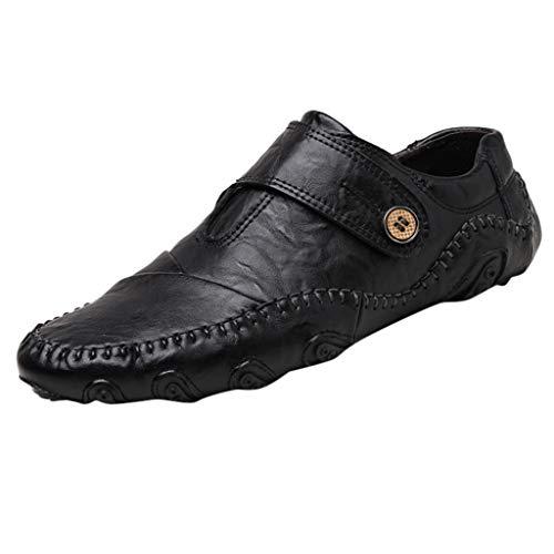 Mens Plain Strap Slip on Loafers Leather Oxford Modern Formal Business Dress Shoes Leisure Wild Hook&Loop Shoes Black
