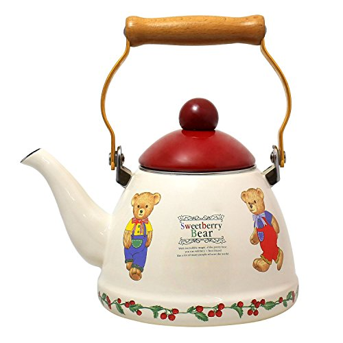 JustNile Country-Style Decorative Enameled iron Tea Kettle with Vintage Wooden Handle - 1.2 Quarts, Friendly Bears Print (Vintage Red Tea Kettle compare prices)