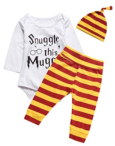 (3PCS Outfit Set Baby Boys Girls Snuggle This Long Sleeve Bodysuit (White03, 0-3 Months))