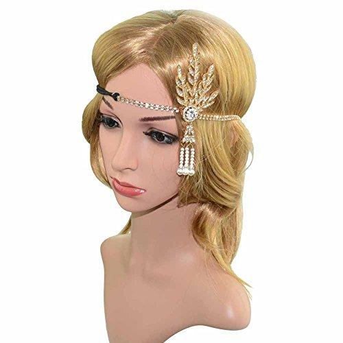 Gold Leaf Tiara Costume (DJHbuy 1920s Women Great Gatsby Flapper Hairband Crystal Leaf Tiara Headband Headpiece)