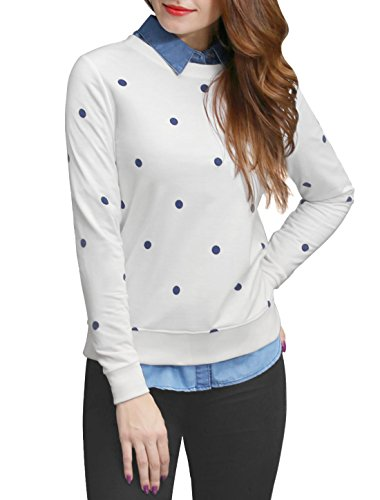 Allegra K Women's Crew Neck Long Sleeves Polka Dots Prints Sweatshirt L (Dot Crew Sweatshirt)