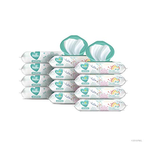 Pampers Sensitive Water-Based Baby Wipes, 12 Pop-Top and Refill Combo Packs, 864 Count
