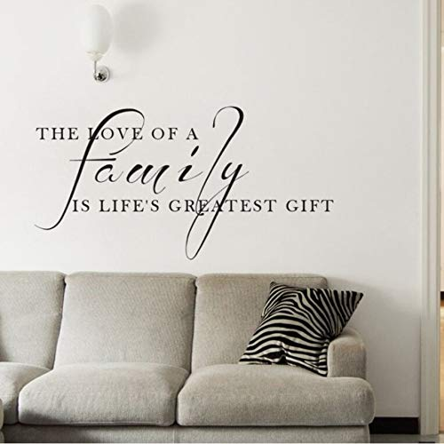 fushoulu 57X29Cmfamily Quote Wall Decal The Love of A Family is The Greatest Gift Quote Wall Sticker Home Decor Vinyl Family Wall Poster