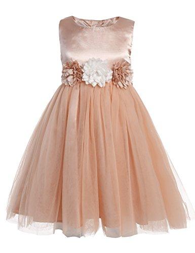 Arshiner Little Girls O-Neck Sleeveless Wedding Party Flower Decorated Tulle Dress