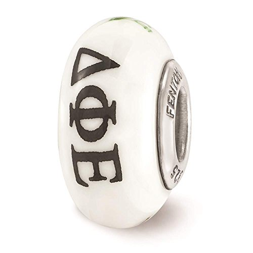 925 Sterling Silver Rhodium-plated Reflections Hand Painted Delta Phi Epsilon Glass Bead ()