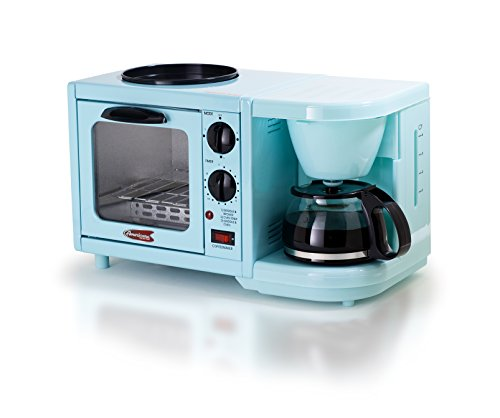 Elite Cuisine EBK-200BL Maxi-Matic 3-in-1 Multifunction Breakfast Center, Blue (Coffee Maker And Toaster Oven compare prices)