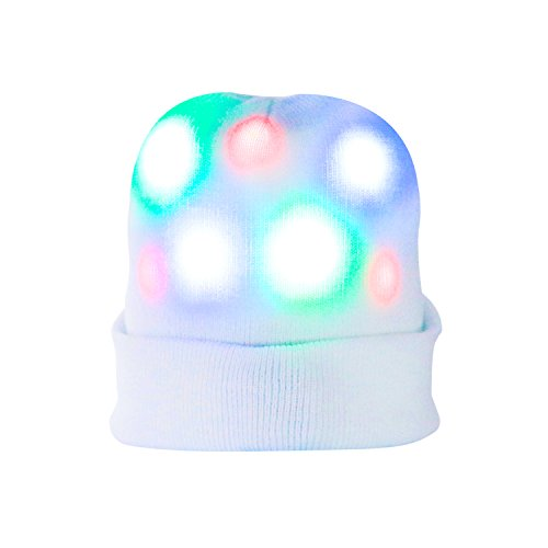 Light up Hat, DAXIN DX Unisex 7 LED Knitted White Flashing Beanie Hat Cap Costume for Party, Lightshow, Jogging, Walking, Bicycling, Christmas, Gifts