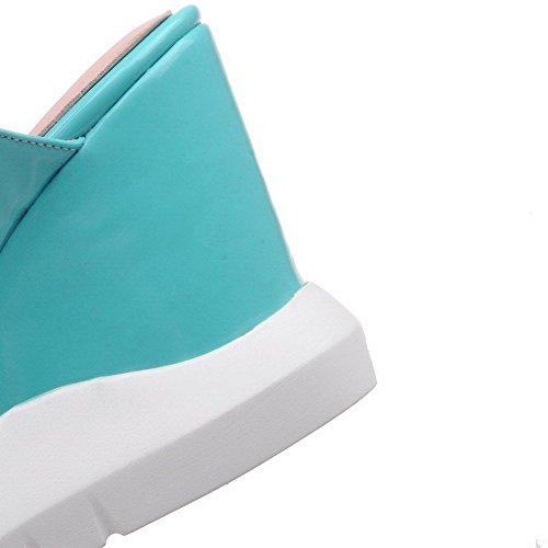 AllhqFashion Mujeres Hebilla Puntera Abierta Plataforma Microfibra Sólido Sandalia Azul