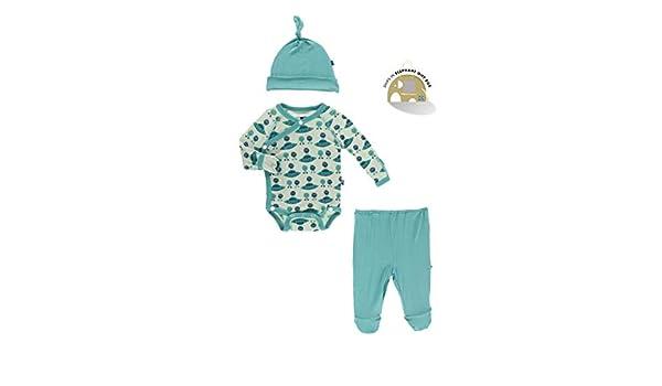 Micro-Preemie, Aloe Aliens with Flying Saucers KicKee Pants Kimono Newborn Gift Set with Elephant Box