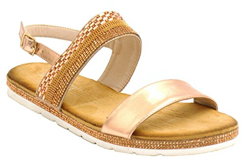 SHU CRAZY Womens Ladies Diamante Open Toe Slingback Holiday Beach Summer Sandals Shoes - N68 Rose Gold lbE8BK00