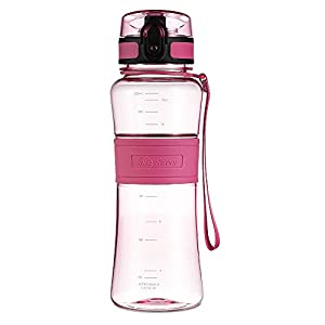 Swig Savvy 18 Oz Tritan Water Bottle Eco Friendly & BPA-Free Plastic ,Leak Free One-Click Flip Top open Ideal For Sports Yoga, Camping, Biking, & Jogging Pink