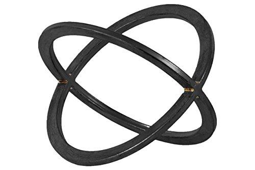Black Metallic Finish - Urban Trends Metal Orb Dyson Sphere Design (2 Circles) LG Metallic Finish Black, Large
