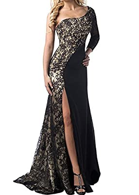 (Upgraded) Women One Shoulder Side Split Floor-Length Lace Maxi Evening Dress