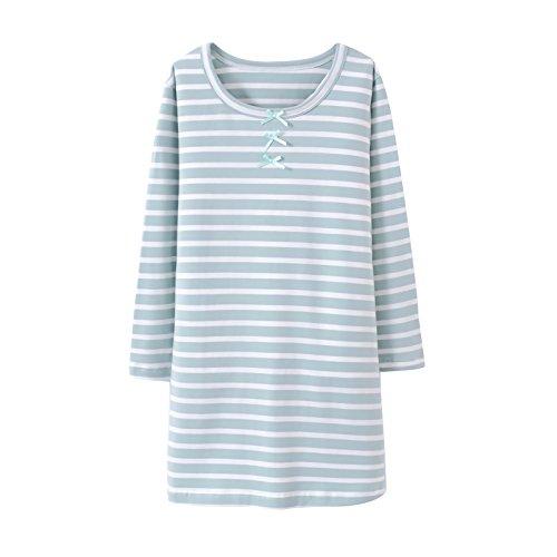 Allmeingeld Baby Girls' Stripes Nightgowns Bowknot Sleep Shirts Cotton Sleepwear Green Kids 4t