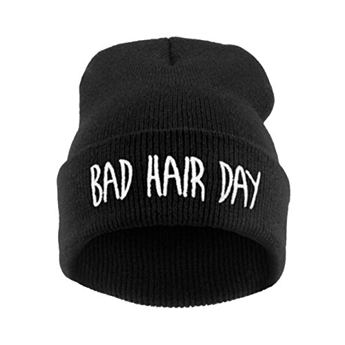 Joyci Winter Unisex Funny Bad Hair Day Hip Pop Beanie Hat Women Men Ski (Black) -