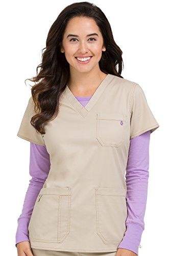 Med Couture Signature Women's V-Neck 3 Pocket Scrub Top, Khaki, Small