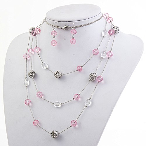 New Beautiful Fashion 3 Layer Handmade Jewelry Set Long Illusion Necklace (plated silver-pink)