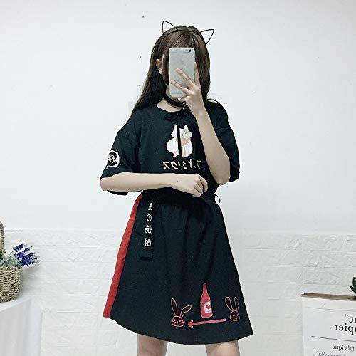 Summer New Cat Print Bow Short T-Shirt + Skirt 2 Piece Sets Clothing by MV (Image #3)