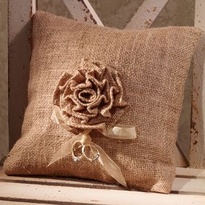 The Country House Ring Bearer - French Wedding Burlap Accent Pillow - 8-in x 8-in