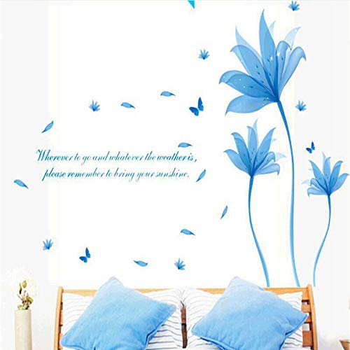 Meaosy Removable Blue Flowers Wall Sticker Quotes PVC Bedroom Wall Stickers Home Decor Bricolage Decoration Home -