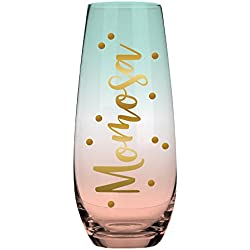 Momosa - 10 oz Stemless Mom Champagne Glass - Great Gift for New Mom, Soon to be Mom, Expecting Mom