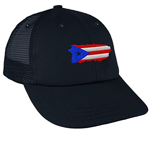 Custom Trucker Hat Baseball Cap Puerto Rico Map Flag Embroidery Cotton Dad Hats for Men Snaps Navy Design Only