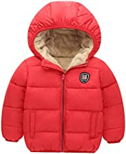 Happy Cherry Baby Kids Hooded Winter Coat Puffer Down Jacket Windproof Fleece Lined
