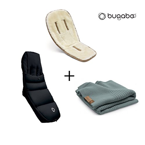 Bugaboo Winter Accessories Bundle: Wool Seat Liner, Off White Wool Blanket and Black High Performanc