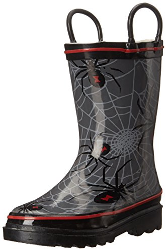 Western Chief Boys Waterproof Printed Rain Boot with Easy Pull On Handles, Spider Crawl, 12 M US Little Kid