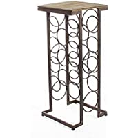 Adeco black Iron & Walnut-Color Wood Tall Rectangular Wine Rack End Table, Holds 11 Regular-Size Wine Bottles, Brown