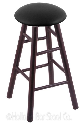 Maple Extra Tall Bar Stool in Dark Cherry Finish with Black Vinyl - Bar Wood Finish Pub Maple