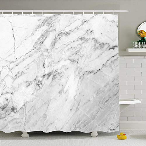 (Ahawoso Shower Curtain 60x72 Inches Natural Gray Grey White Marble Industrial Black Abstract Board Design Marbled Waterproof Polyester Fabric Bathroom Curtains Set with Hooks)