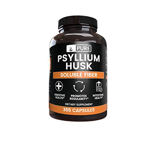 Natural Psyllium Husk, 365 Capsules, 3 Month Supply, No Stearates or Rice Fillers, Kosher, Gluten-Free, Made in USA, 1575 mg Potent & Premium Quality Psyllium Husk with No Additives