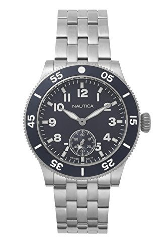 Nautica Men's Houston Quartz Watch with Stainless-Steel Strap, Blue, 22 (Model: NAPHST005) ()