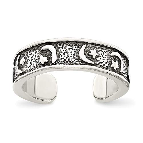 925 Sterling Silver Antiqued Moon and Star Toe Ring Size-