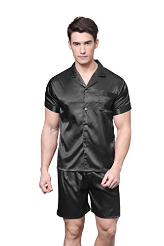 Tony & Candice Men's Short Sleeve Satin Pajama Set with Shorts (Black,XXL)