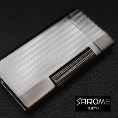 日本製 ガスライター/SAROME/サロメ SD7-18 ガンメタルハーフマット/ストライプ 【送料無料】 B01LX8MG83