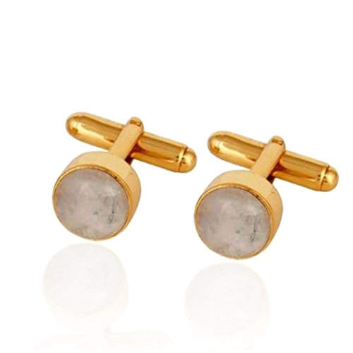 Gemstone Gold Plated Men's Jewelry Rainbow Moonstone Silver Jewelry Cuff links