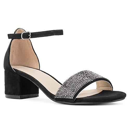 - RF ROOM OF FASHION Women's Ankle Strap Low Block Chunky Heel Dress Sandal Pumps Black (7)