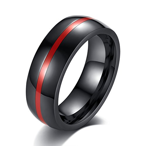 REVEMCN 8mm Black Stainless Steel Thin Line Polished Finish Wedding Band Ring for Men Women, 4 Color (Red, 13)]()