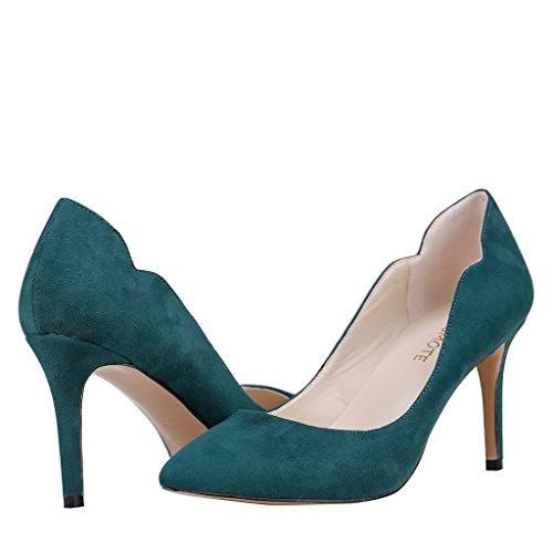 Fersen Damen MERUMOTE wildleder übliche Pumpen Spitz Tägliche für Dünne Mittleren Dunkel Schuhe Grün rXwdpr