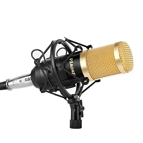 Aokeo AK-80 Professional Studio Recording Condenser Microphone Plug and Play Mic, Cardioid Pickup, Compatible Phone, Computer, Laptop,Youtube, Podcasting,Twitch, Skype,MSN,Gaming,Singing (Black) by aokeo