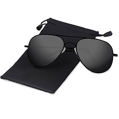 0e4e610dce Elimoons Mens Womens Aviator Sunglasses Polarized Mirrored UV 400 Lens  Protection
